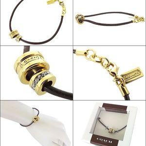 Coach Charms & Leather Bracelet